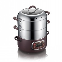 Free shipping Three layers of stainless steel electric steamer set timer multifunctional Hot pot Electric Food Steamers(China (Mainland))