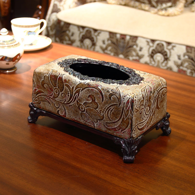 End Decorative Tissue Box Tray Pumping Luxury Living Room Coffee Table Pottery Ornaments Home