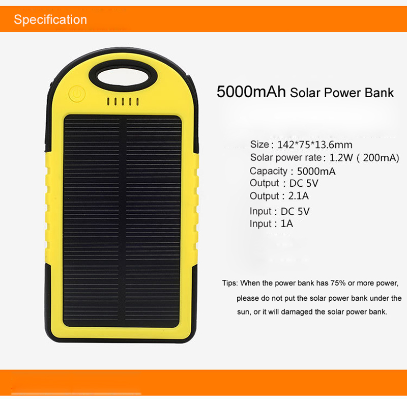 Mini mobile phone solar power bank 5000mah Waterproof Dual USB LED light Travel Solar Battery Charger powerbank