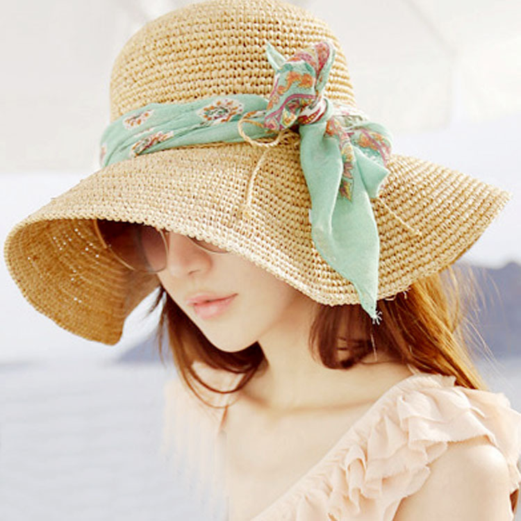 2015 Fashion Summer Women's Foldable Wide Large Brim Floppy Beach Hat Sun Straw manual Hat Cap(China (Mainland))