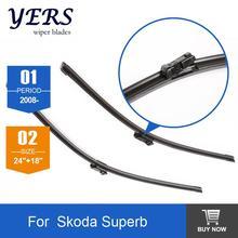 Car wiper blade for Skoda Superb, 24″+18″, rubber Bracketless windscreen wiper blades, wiper, Car accessories, 2 pcs