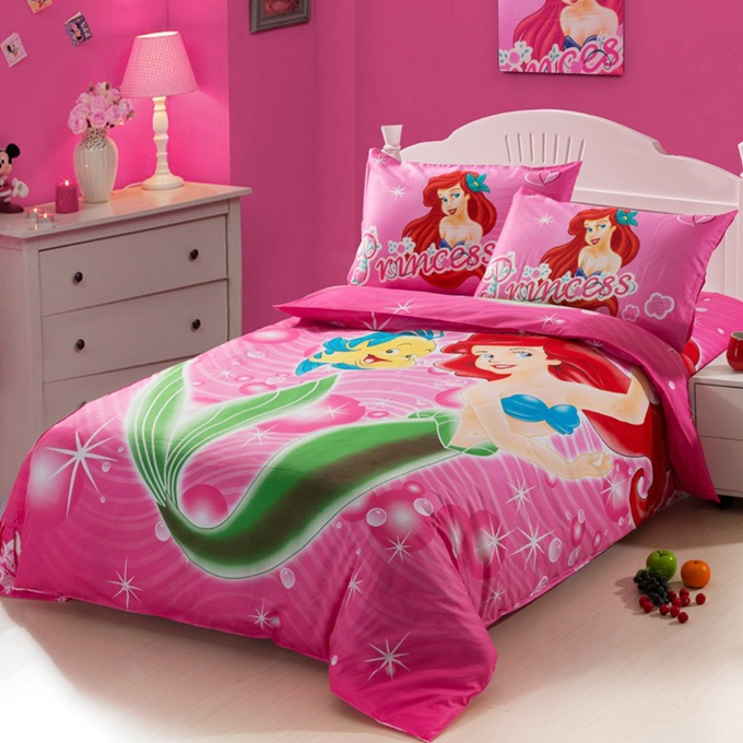 The little mermaid hot pink kids girls cartoon baby for Twin size beds for girls