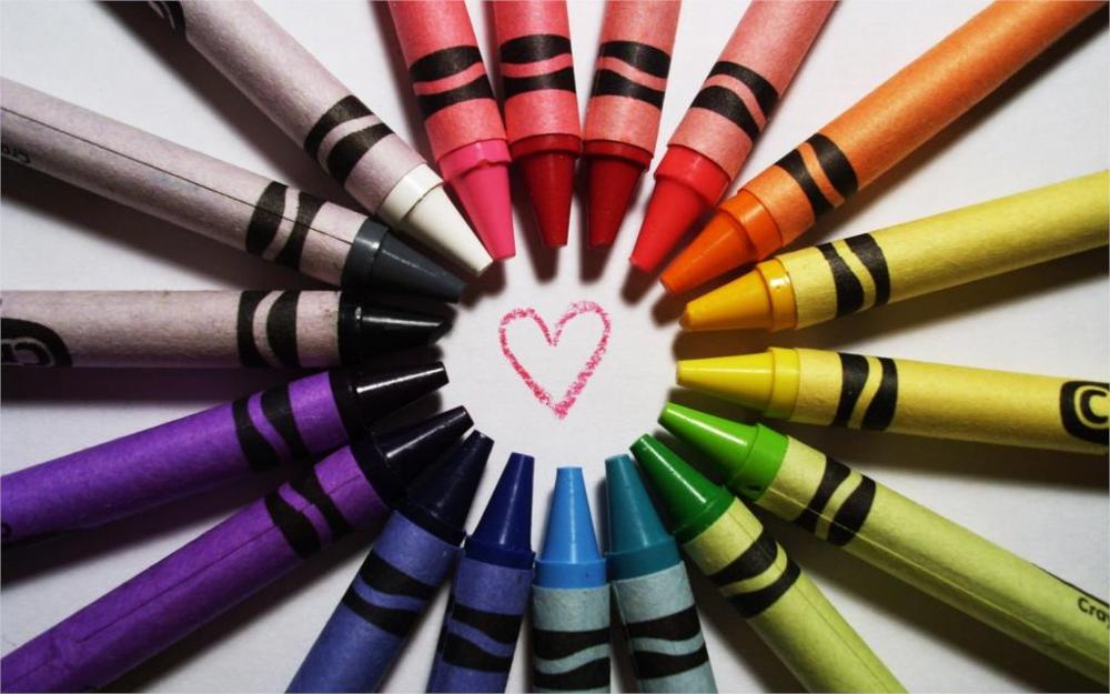 paint crayons rainbows hearts 4 Sizes Silk Fabric Canvas Poster Print(China (Mainland))