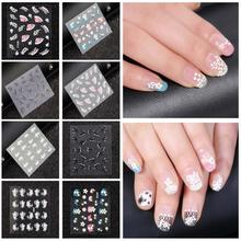 NEW Fashion 50 Sheet 3D Mix Color Floral Design Nail Art Stickers Decals Manicure Beautiful Fashion Accessories Decoration
