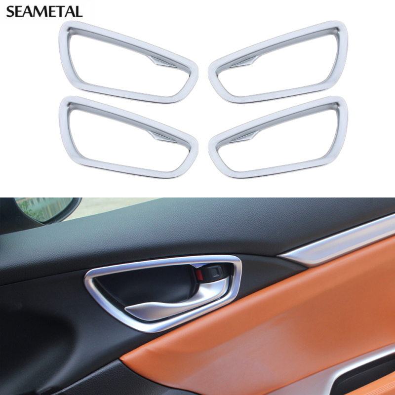 4 pcs set car door handle bowl cover frame interior decoration abs chrome trim for honda civic. Black Bedroom Furniture Sets. Home Design Ideas