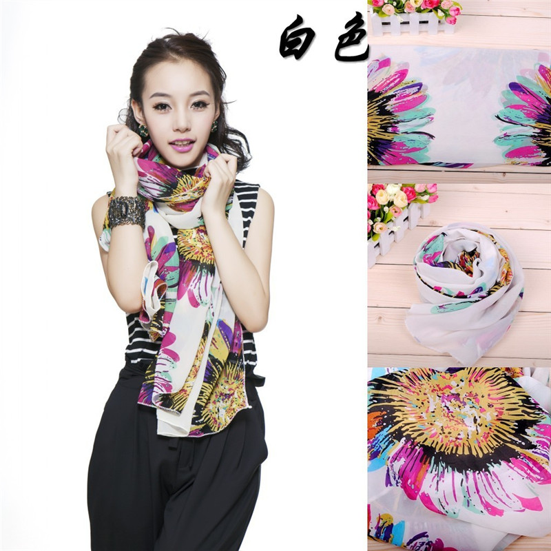 2016 Fashion sunflower pattern 160*40cm women lace Scarf ice silk soft warm scarves Beach shawl spring autumn lovely girls scarfОдежда и ак�е��уары<br><br><br>Aliexpress