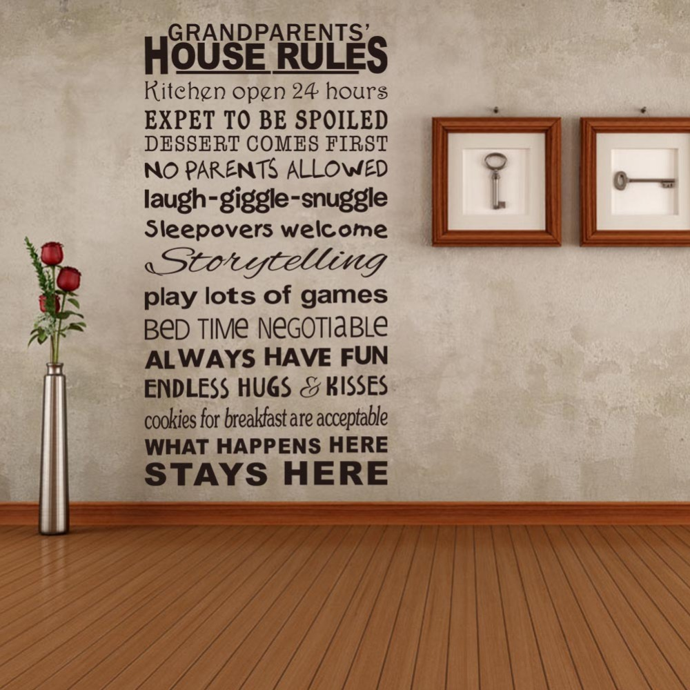 Wall Decor Decals Letters : Family rules wall quotes stickers house decoration