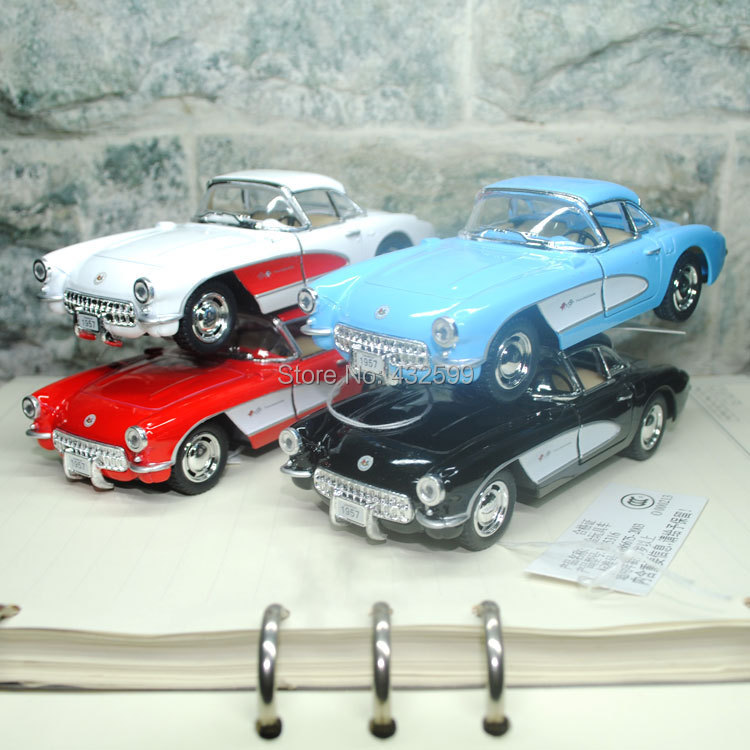 Free Shipping Classic Vintage 1957 Chevrolet Corvette 1/34 Scale Diecast Metal Pull Back Car Model Toy For Children/Gift(China (Mainland))