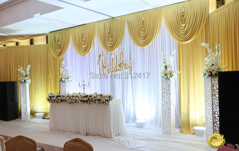 wholesale and retail 3x6m white and gold wedding backdrop curtain with swag wedding drapes , wedding stage backdrop(China (Mainland))