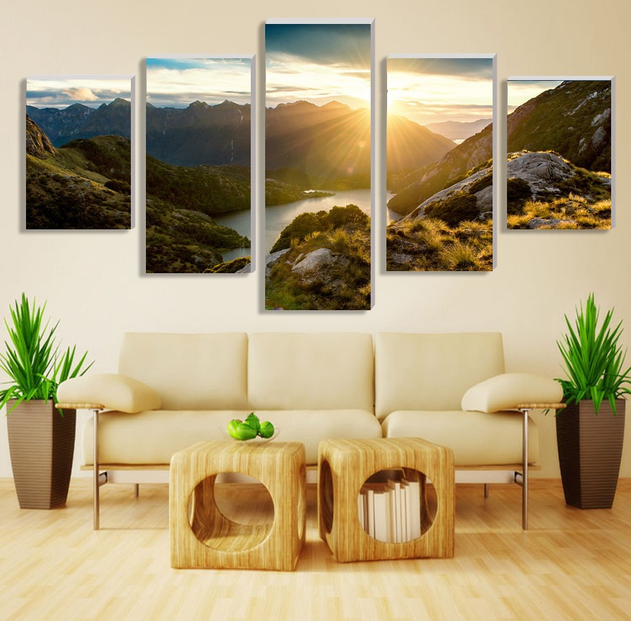 5Pcs Unframed Sunrise Painting Modern Home Wall Decor Canvas picture Art HD Print Painting Mountain Canvas arts Modular pictures(China (Mainland))