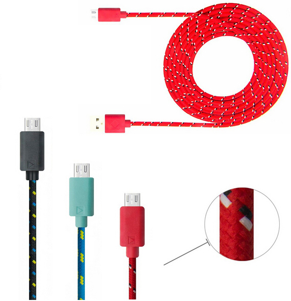 3 Meter 10 Feet Ruggedized Fabric Braided USB Male to Micro USB Male Data Sync Charging Cable for Samsung HTC Nokia Huawei(China (Mainland))