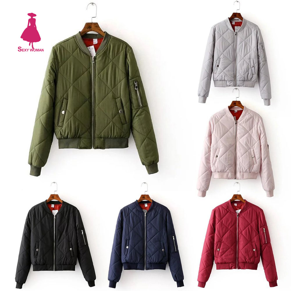 Quilting Quilted Bomber Jacket Slim Casual Thin Zipper Baseball Padded Coat Pilots Outerwear Street New Women Top 6 Color Trendy(China (Mainland))