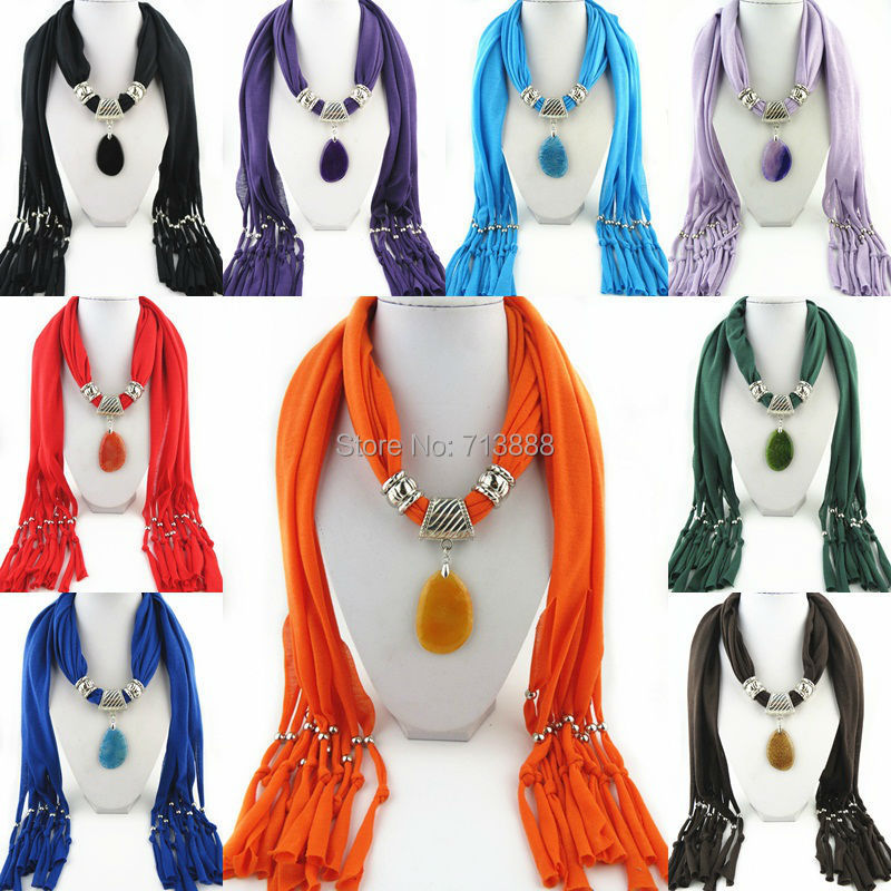 Fashion Autumn Winter Womens Ladies Clothing Accessory Oval Natural Stone Pendant Necklace Scarf(China (Mainland))