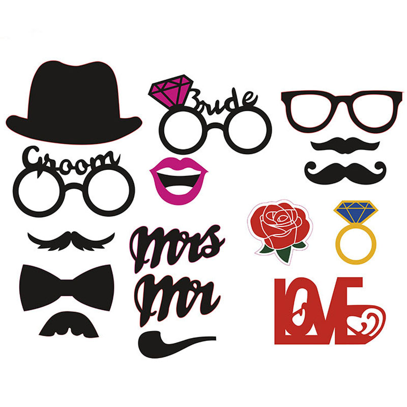 16pcs/set Mr Mrs photo booth Props Love DIY On A Stick Photography Wedding Decoration Party for Fun Favor photobooth photocall(China (Mainland))