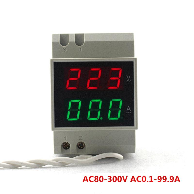 Din Rail Digital Voltmeter Ammeter Voltage Ampere Current Panel Meter Red Green Dual Led Display AC 110V 220V 300V 100A(China (Mainland))