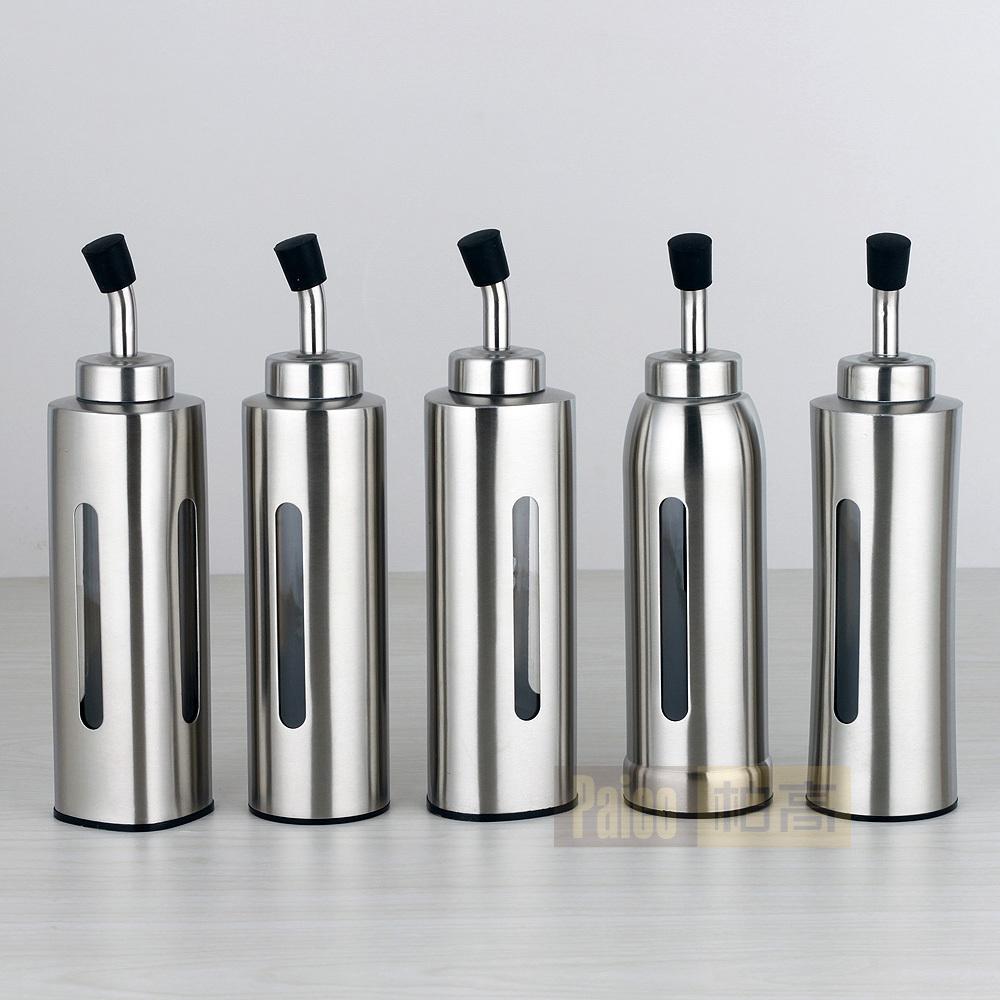 Visual stainless steel oil can bottle soy sauce vinegar seasoning bottles shape cap - Online Store 225968 store