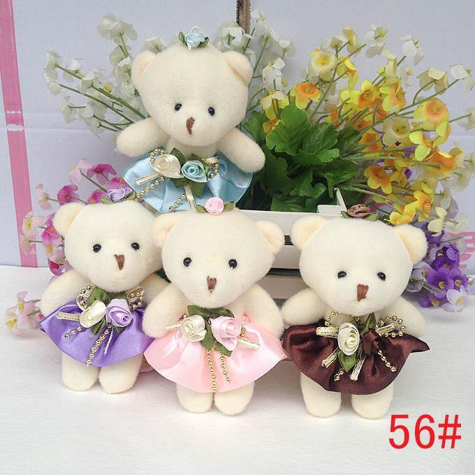Lovely Mini Bear Soft Plush Toy Phone Charm Stuffed Small Toy Promotional Gift Opp Cotton Bear Doll For 12cm 10pcs/lot(China (Mainland))