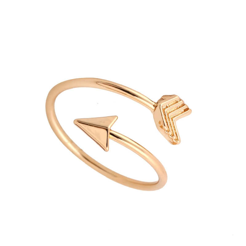 2016 Fashion New Arrival Gold Ring Vintage Jewelry Ring Adjustable Brass Small Arrow Rings For