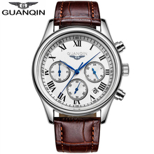 GUANQIN Fashion Mens Watches Chronograph & 24 Hours Function Men Business Water Resistant Quartz Wristwatches Relogio Masculino(China (Mainland))