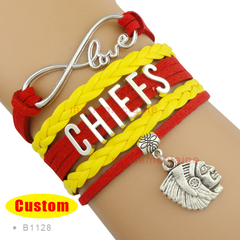 (10 Pieces/Lot) Infinity Love Kansas City Chiefs Football Team Bracelet Red Gold Best Gift for Football Fan Custom Drop Shipping(China (Mainland))