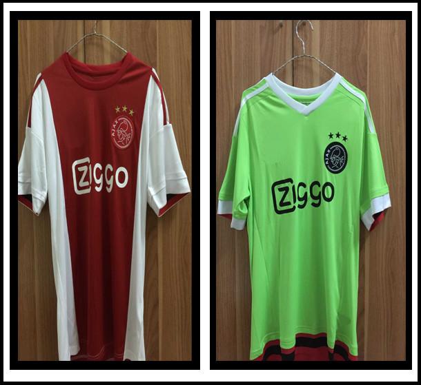 correct Thailand production 15/16 Ajax jersey home Away AFC Ajax Soccer Jerseys 3A+++ embroidery logo Milik Davy Klaassen Schone(China (Mainland))