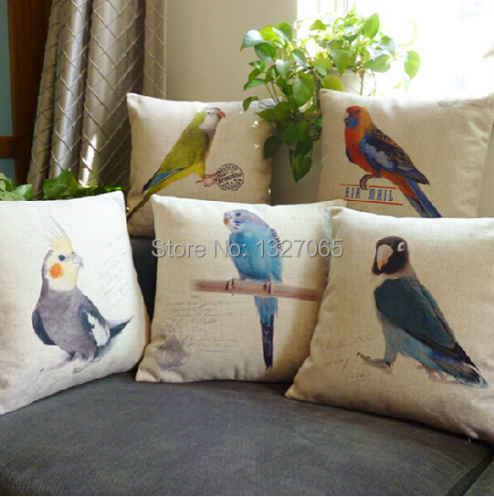 """Cockatoo Parrot Birds Linen Throw Pillow Case Baby Room Cushion Cover 18""""x18""""(China (Mainland))"""