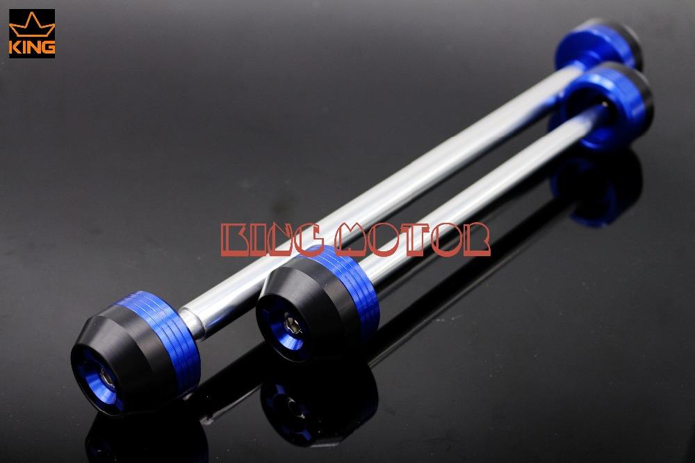 For SUZUKI GSR 750 2011-2014 Tracer CNC Aluminum Front & Rear Axle Fork Crash Sliders Wheel Protector Blue