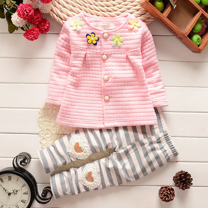 Baby girls cotton spring autumn clothing sets children's wear fashion Four flower long sleeved cardigan suit kids coat + pants(China (Mainland))