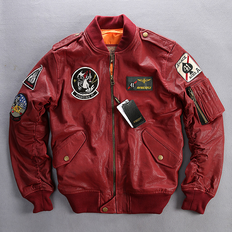Online Get Cheap Red Leather Bomber Jacket Men -Aliexpress.com