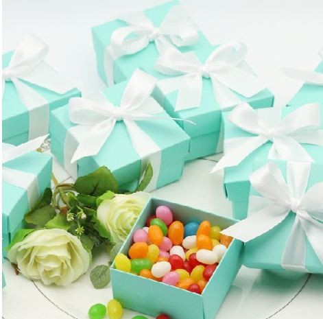 10 Tiffany Blue Wedding Favor Candy box Candly holders Party Baby Shower Birthdays Gifts Boxes - Yiwu Wedding&Baby Favors store