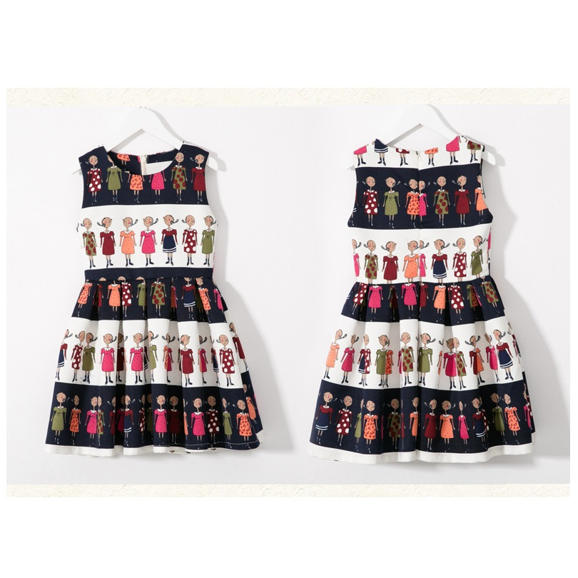 Sleeveless A Line Pleated Skirt Mother Daughter Family Matching Outfits Dresses(China (Mainland))