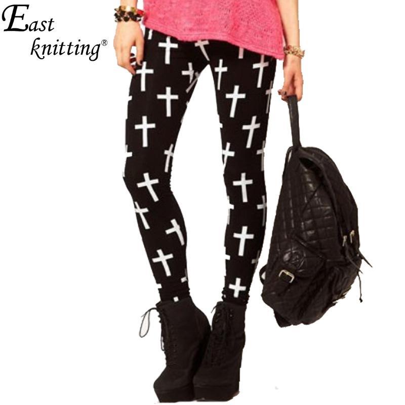 EAST KNITTING X-342 fashion Cross Print Leggings women brand designer pants S/M/L/XL(China (Mainland))