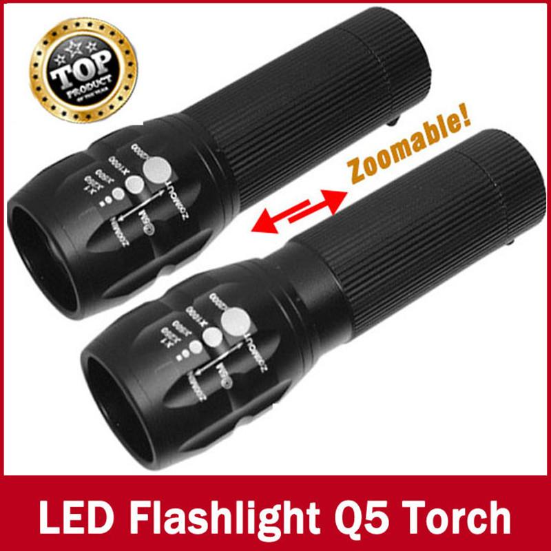 high-quality flashlight Lanterna Cree Q5 led Torch 2000 lumen Zoomable Black Mini LED Flashlight lantern bike light(China (Mainland))