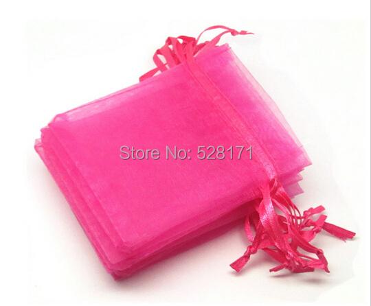 Free Shipping Wholesale Hot Pink Organza Bag 7x9cm,Wedding Jewelry Packaging Pouches,Nice Wedding Organza Gift Bag 100pcs/lot(China (Mainland))