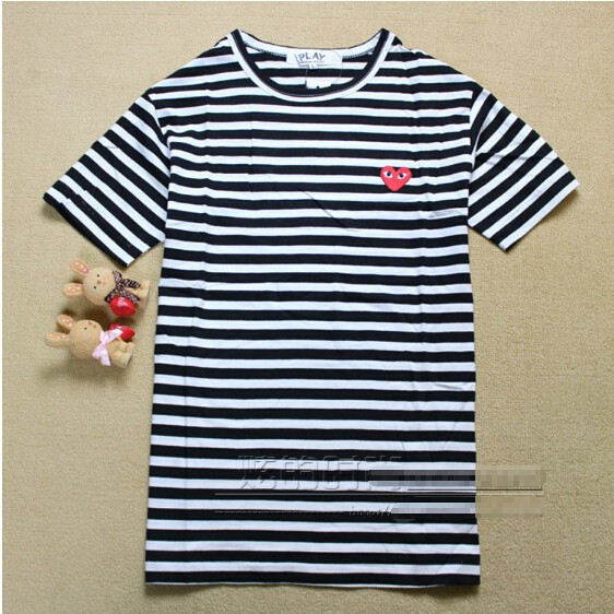 Aliexpress.com : Buy COMME Des GARCONS CDG PLAY heart embroidery striped Big eye short sleeve t shirt styles women men lover 100% cotton from Reliable cotton mens suppliers on Lots of Happiness