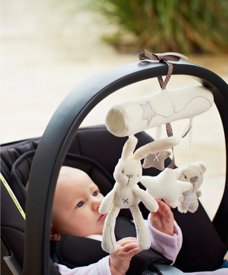 Rabbit baby music hanging bed safety seat plush toy Hand Bell Multifunctional Plush Toy Stroller Mobile Gifts Free Shipping(China (Mainland))