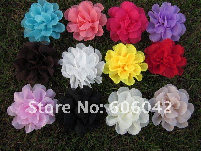 "Free shipping!70pcs/lot 4.5""chiffon silk flowers,rosette flowers,petti skirt flowers, mix colors"