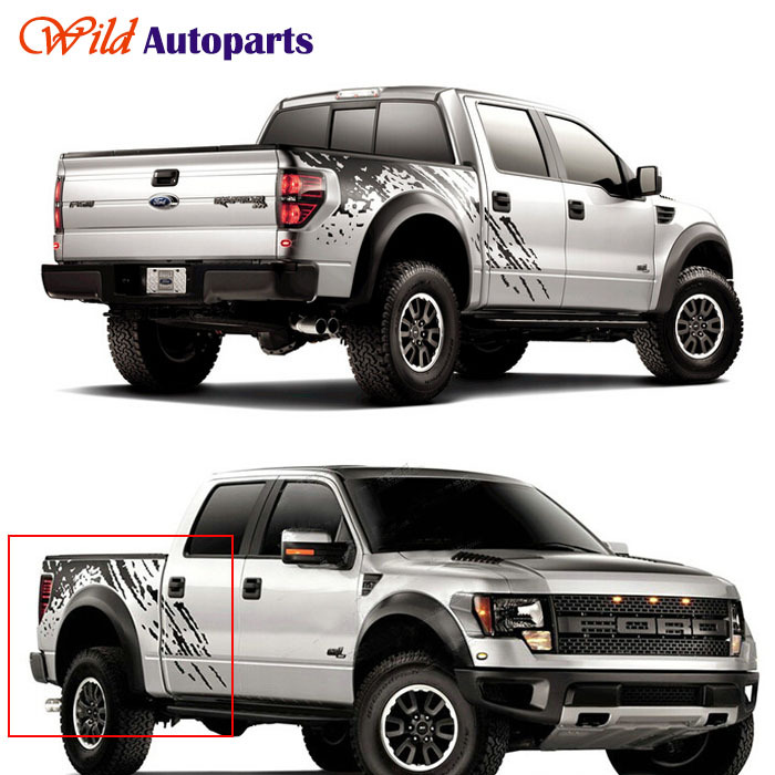Black Auto Body Tail Side Trunk Graphics Vinyl Decals Sticker For Ford F150 Raptor 2009 2010 2011 2012 2013 2014(China (Mainland))