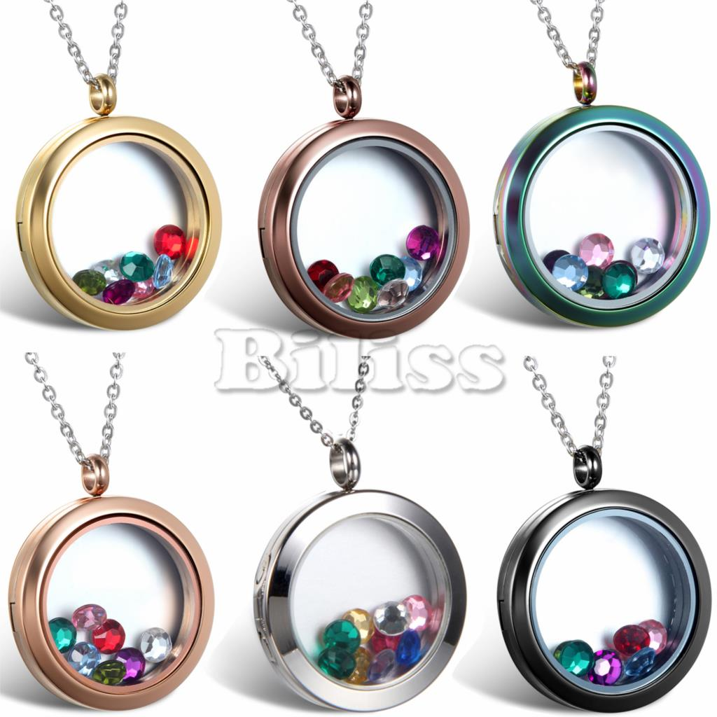Multi Colored Crystal Floating Locket Memory Living Pendant Necklace For Women Ladies Round Frame 18 inch Chain Necklaces(China (Mainland))