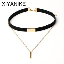 Buy XIYANIKE 2016 New Black Velvet Choker Necklace Gold Chain Bar Chokers Necklace Women collares mujer collier ras du cou N664 for $1.50 in AliExpress store