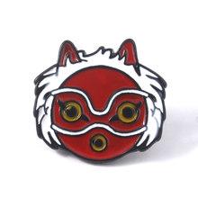Princess Mononoke Hime Kartun Masker Bros Merah Enamel Kerah Kreatif Ransel Pin Lencana Perhiasan(China)