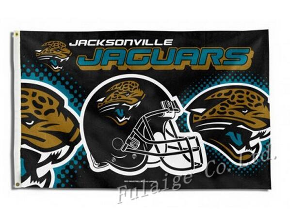 Jacksonville Jaguars New Wordmark Flag 3ft x 5ft Polyester NFL Jacksonville Jaguars Banner Size No.4 150* 90cm Custom flag(China (Mainland))