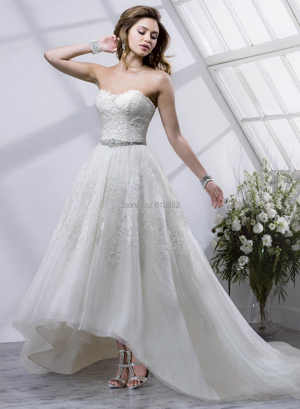 Strapless lace organza long train low back cream colored for Cream colored lace wedding dresses