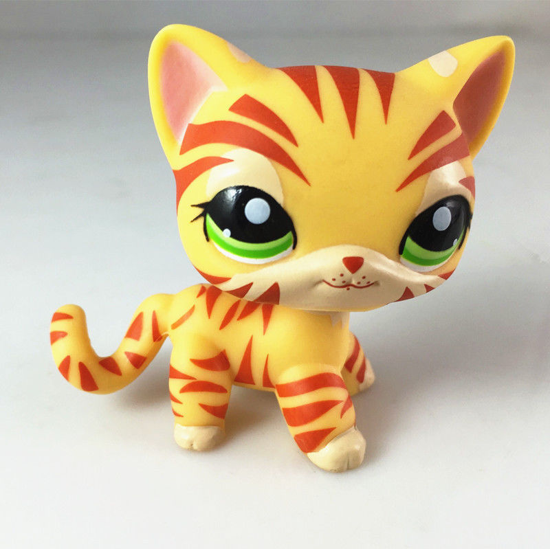 pet shop New Cat #1451 Orange & Yellow Striped Tiger Kitty Cat Child Loose Cute Figure Toys(China (Mainland))