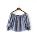 Sexy off shoulder slash neck Women blouses striped three quarter sleeve shirts elastic neck ladies summer