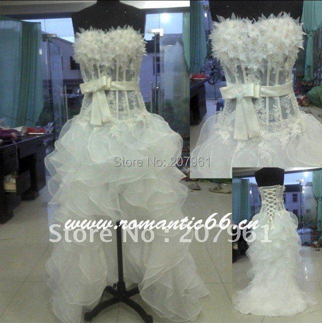 Hi Lo Hot Sale Strapless Sleeveless Short Front Long Back White Wedding Dresses 2016(China (Mainland))