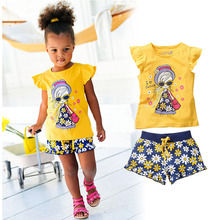 Baby Girls Kids Clothes Set 2016 Summer Children Cartoon Clothing Set Girl Short Sleeve T-shirt+Printing Shorts Suits