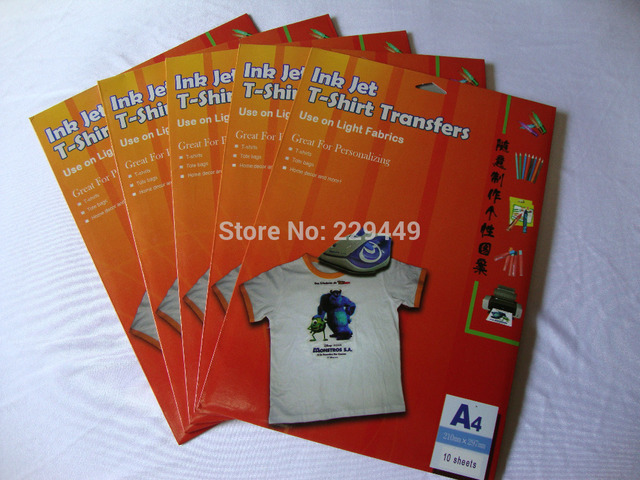 New A4 Iron on Transfer Paper 100pcs/lot Thermal Transparent Inkjet Heat Transfers Paper With Heat Press For t shirt Fabric