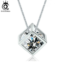 New Arrival Square Box with AAA Cubic Zirconia Zircon Elegant Pendant Necklace for Women ON49(China (Mainland))