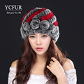 YCFUR Hot Sales Women s Hats Winter 2016 Handmade Knitted Natural Rex Rabbit Fur Beanies With